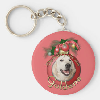 Christmas - Deck the Halls - Goldens - Tebow Basic Round Button Keychain