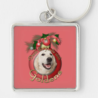 Christmas - Deck the Halls - Goldens - Tebow Silver-Colored Square Keychain