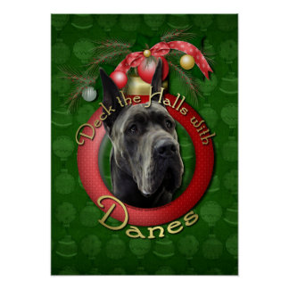 Christmas - Deck the Halls - Great Dane - Grey Poster