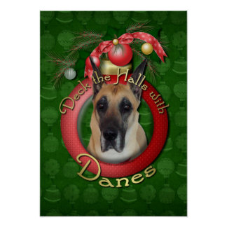 Christmas - Deck the Halls - Great Dane Poster