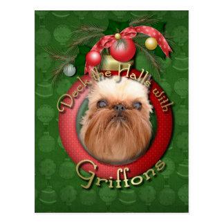 Christmas - Deck the Halls - Griffons Postcard