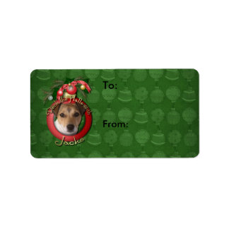 Christmas - Deck the Halls - Jack Russell Personalized Address Label