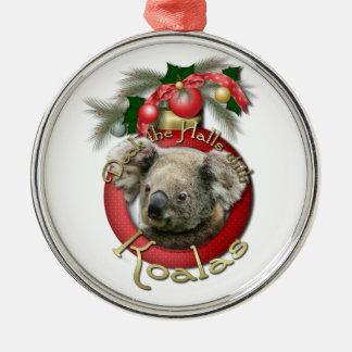 Christmas - Deck the Halls - Koalas Round Metal Christmas Ornament