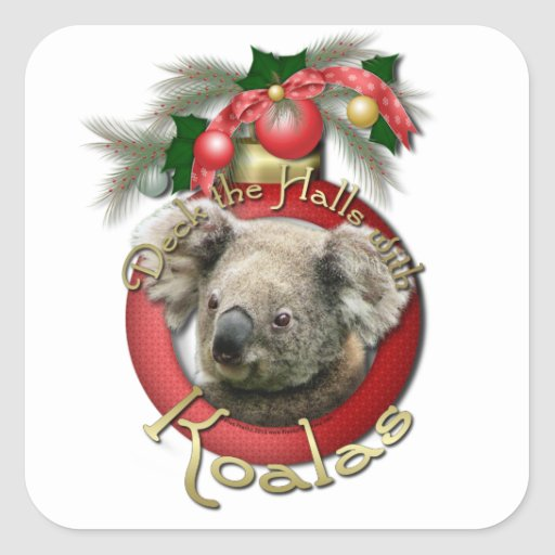 Christmas - Deck the Halls - Koalas Square Stickers