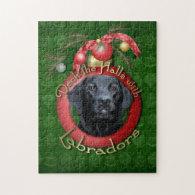 Christmas - Deck the Halls - Labrador - Black Puzzle