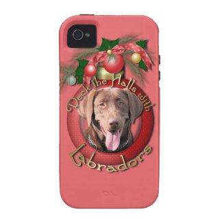 Christmas - Deck the Halls - Labrador - Chocolate Case-Mate iPhone 4 Cases