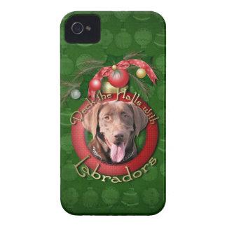 Christmas - Deck the Halls - Labrador - Chocolate iPhone 4 Case-Mate Case
