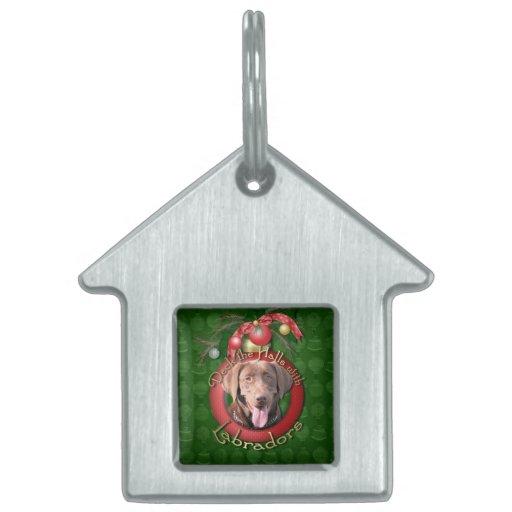 Christmas - Deck the Halls - Labrador - Chocolate Pet Name Tags