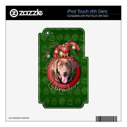 Christmas - Deck the Halls - Labrador - Chocolate iPod Touch 4G Skins