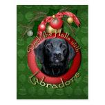 Christmas - Deck the Halls - Labradors - Black Postcard