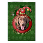 Christmas - Deck the Halls - Labradors - Chocolate Greeting Card