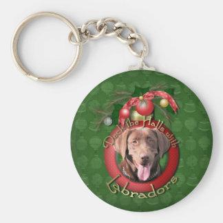 Christmas - Deck the Halls - Labradors - Chocolate Basic Round Button Keychain