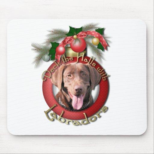 Christmas - Deck the Halls - Labradors - Chocolate Mouse Pad
