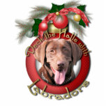 Christmas - Deck the Halls - Labradors - Chocolate Photo Sculpture