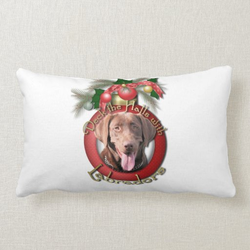 Christmas - Deck the Halls - Labradors - Chocolate Throw Pillows