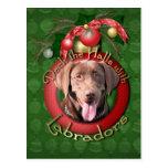 Christmas - Deck the Halls - Labradors - Chocolate Postcard