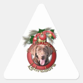 Christmas - Deck the Halls - Labradors - Chocolate Stickers