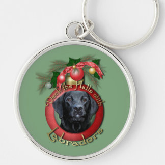 Christmas - Deck the Halls - Labradors - Gage Silver-Colored Round Keychain