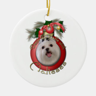 Christmas - Deck the Halls - Malteses Double-Sided Ceramic Round Christmas Ornament