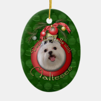 Christmas - Deck the Halls - Malteses Double-Sided Oval Ceramic Christmas Ornament
