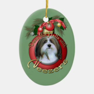 Christmas - Deck the Halls - Neezers Double-Sided Oval Ceramic Christmas Ornament