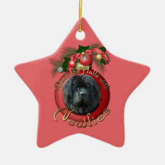 Christmas - Deck the Halls - Newfie Ceramic Ornament