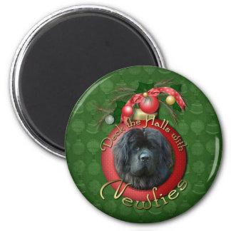 Christmas - Deck the Halls - Newfie Refrigerator Magnet