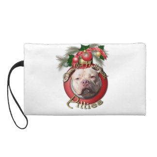 Christmas - Deck the Halls - Pitties - Jersey Girl Wristlet Purse