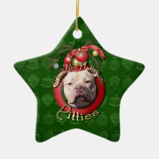 Christmas - Deck the Halls - Pitties - Jersey Girl Ceramic Ornament