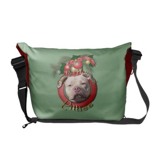 Christmas - Deck the Halls - Pitties - Jersey Girl Messenger Bags