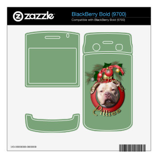 Christmas - Deck the Halls - Pitties - Jersey Girl BlackBerry Bold Decal