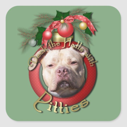 Christmas - Deck the Halls - Pitties - Jersey Girl Stickers