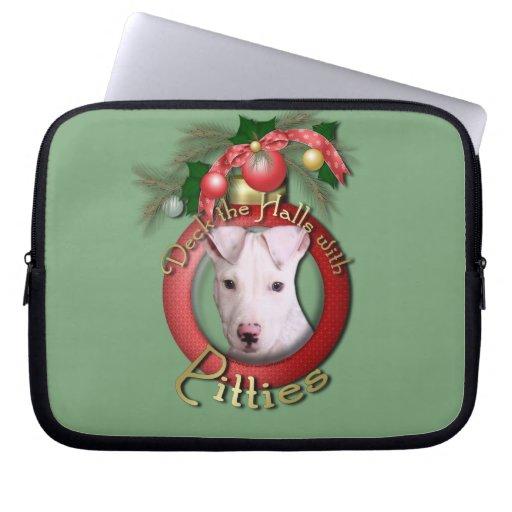 Christmas - Deck the Halls - Pitties - Petey Laptop Sleeve