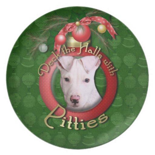 Christmas - Deck the Halls - Pitties - Petey Dinner Plate