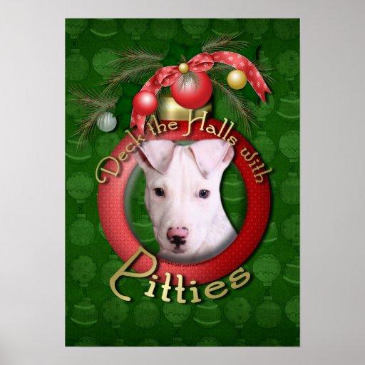 Christmas - Deck the Halls - Pitties - Petey Poster