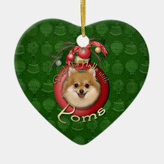 Christmas - Deck the Halls - Poms Ceramic Ornament