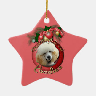 Christmas - Deck the Halls - Poodles - Apricot Ceramic Ornament