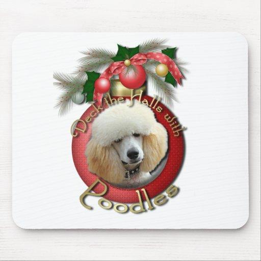 Christmas - Deck the Halls - Poodles - Apricot Mouse Pad
