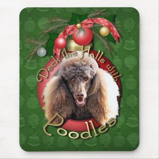 Christmas - Deck the Halls - Poodles - Chocolate Mouse Pad