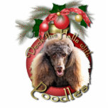 Christmas - Deck the Halls - Poodles - Chocolate Photo Cut Out