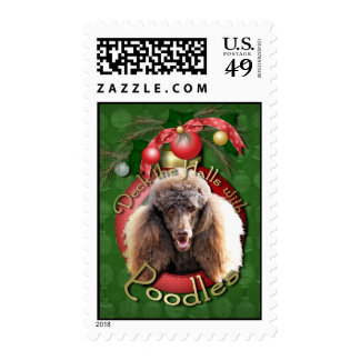 Christmas - Deck the Halls - Poodles - Chocolate Postage Stamps