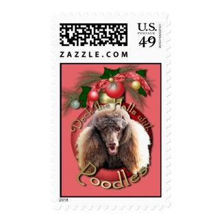Christmas - Deck the Halls - Poodles - Chocolate Postage