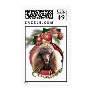 Christmas - Deck the Halls - Poodles - Chocolate Stamp