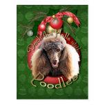 Christmas - Deck the Halls - Poodles - Chocolate Postcard