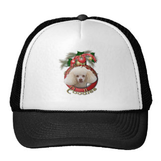 Christmas - Deck the Halls - Poodles - White Hat