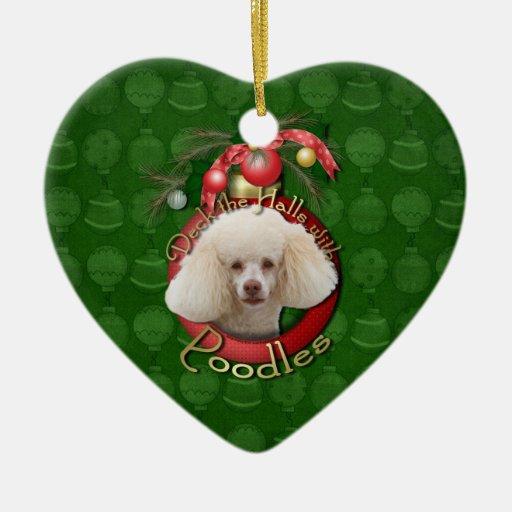Christmas - Deck the Halls - Poodles - White Ornaments
