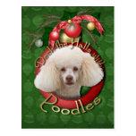 Christmas - Deck the Halls - Poodles - White Postcard