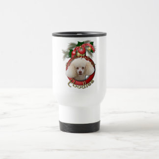 Christmas - Deck the Halls - Poodles - White Travel Mug