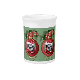 Christmas - Deck the Halls - Pugs - Angel Beverage Pitcher