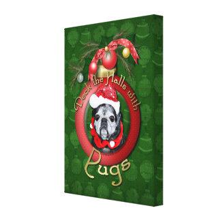 Christmas - Deck the Halls - Pugs - Angel Canvas Print
